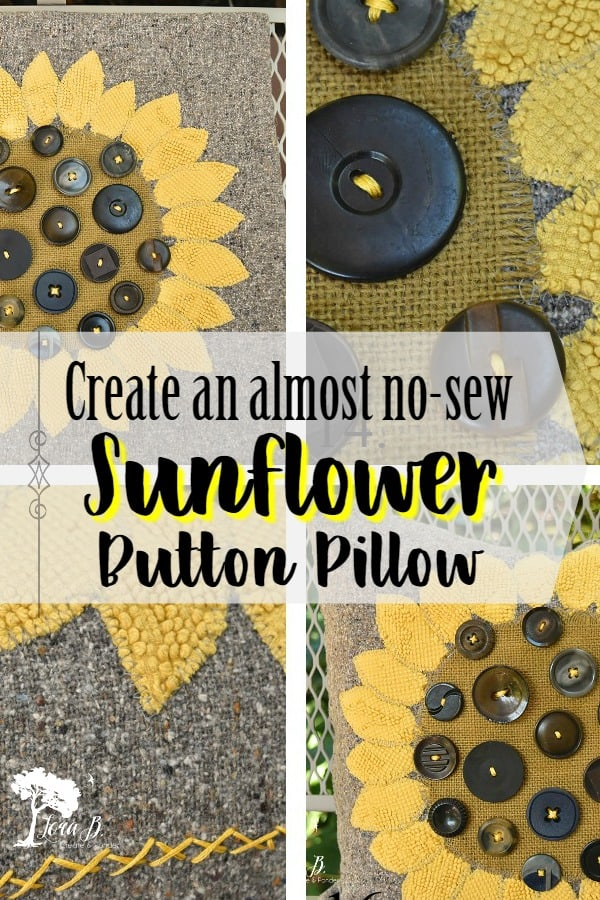 Create an almost no-sew Sunflower Button Pillow with this visual how-to. This DIY is even more charming if you use a mix of vintage and new materials. #sunflowers #DIY #vintage #fallDIY #falldecor #sewingprojects #homedecor