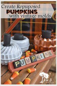 repurposed vintage baking mold pumpkins DIY