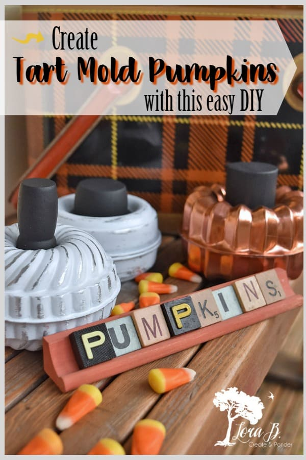 Create tart mold pumpkins with vintage bakeware. An easy DIY project with loads of fall decorating possibilities! Make some to give, make some to keep! #fallDIY #DIYpumpkins #vintagefallideas #vintagerepurposed #upcycled #falldecor #autumndecor #HalloweenDIY #Halloweendecor #Halloweenprojects #upcycledbakeware #vintagebakeware