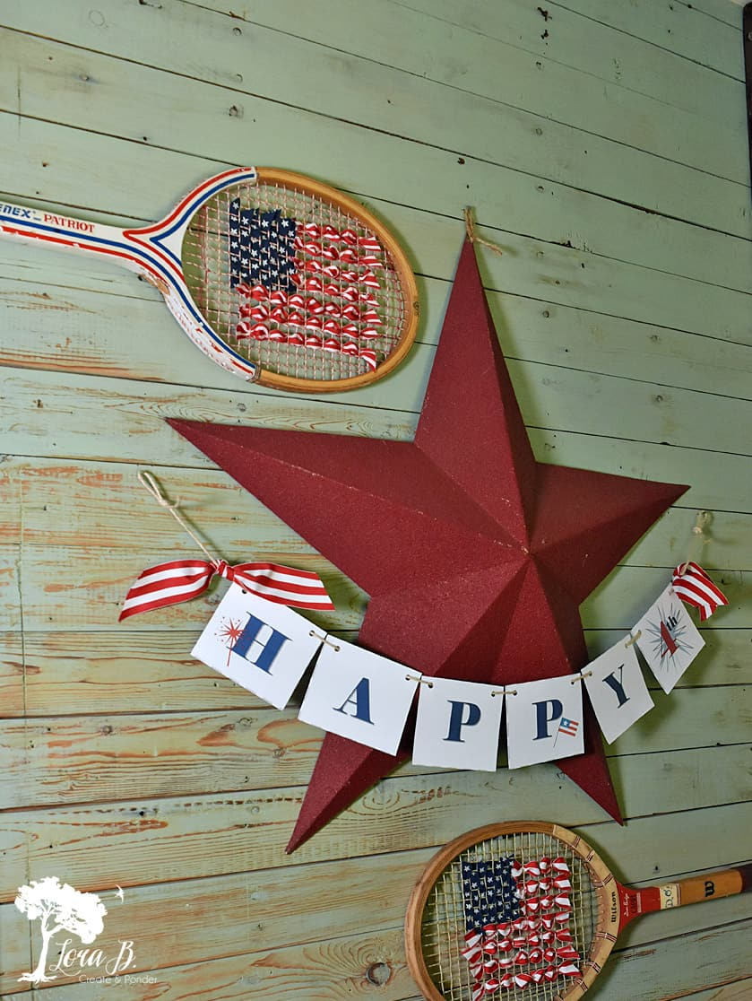 Tennis Racket 4th of July Decor