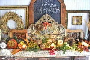 Harvest Thanksgiving mantel