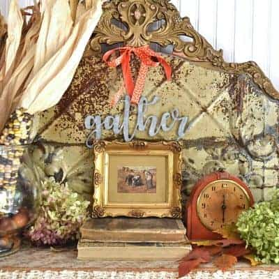 Bountiful Thanksgiving Mantel with Vintage Gold Frames