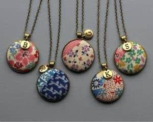 vintage linen necklaces