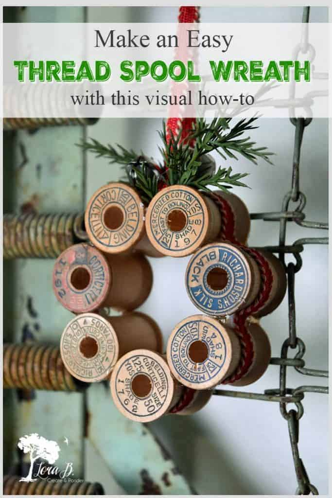 repurposed thread spool wreath