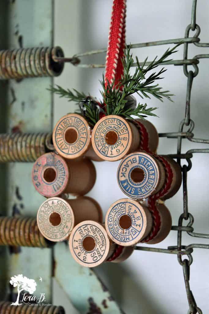 Vintage Thread Spool Mini Wreath How-To