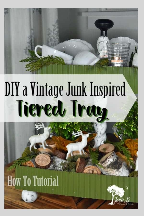 Tiered trays are a trendy decor item! DIY your own unique vintage junk styled tiered tray with this easy how-to. Pics and PDF. #tieredtrayDIY #tieredtraytutorial #tieredtrayhowto #repurposedvintage #repurposed #vintagehomedecor #vintageDIYprojects #vintagerepurposed #centerpieceideas #vintageweddingideas #vintageweddingDIY #vintagecenterpieceideas