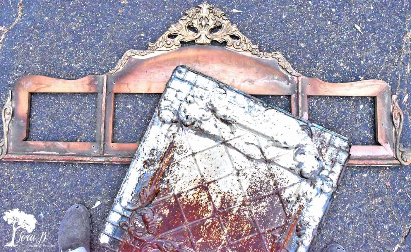 DIY Repurposed Mirror Frame with Vintage Tin