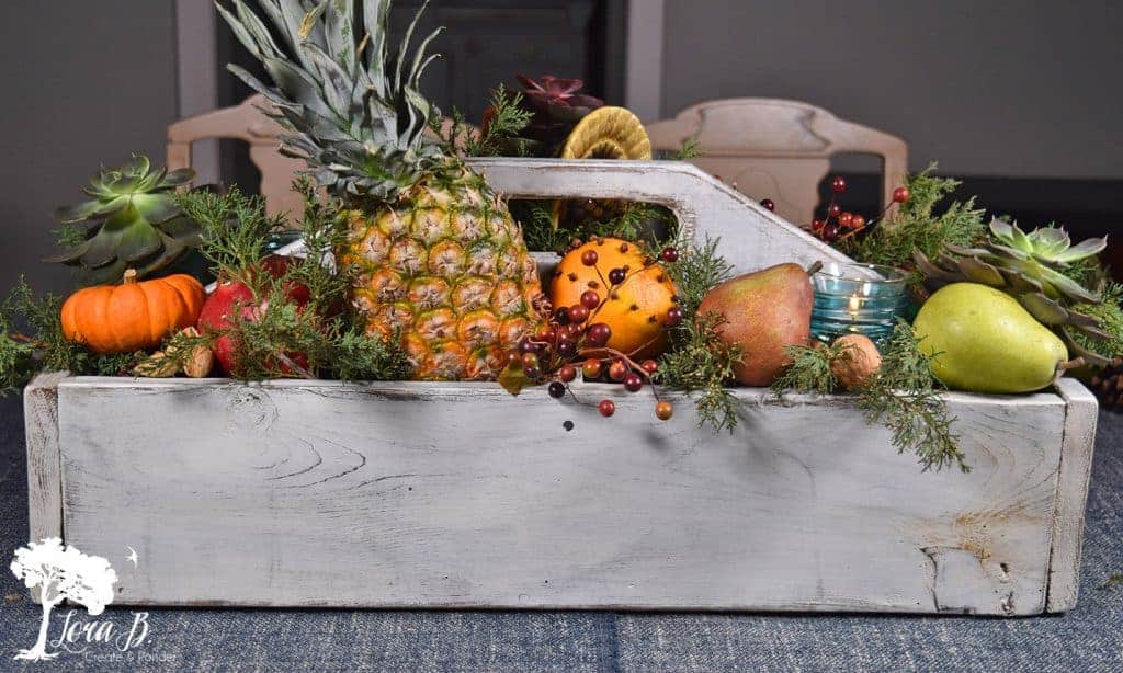 Thanksgiving centerpiece in a tool caddy