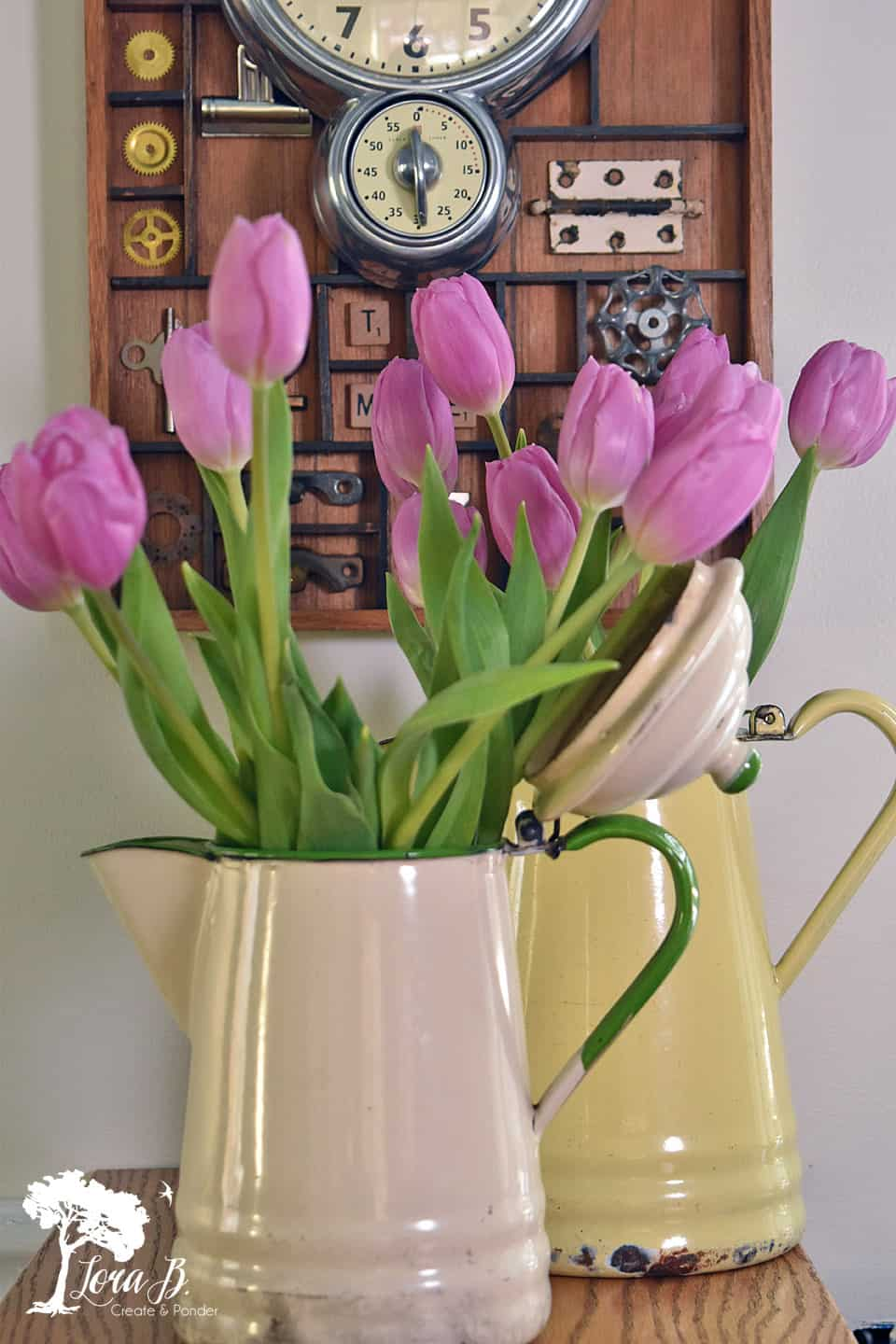 Tulips in enamelware pitcher
