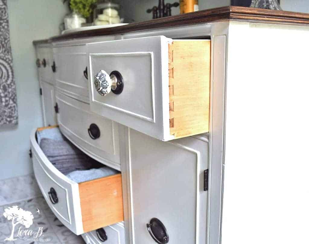 vintage buffet repurposed into vanity
