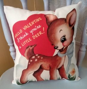 vintage Vday card pillow