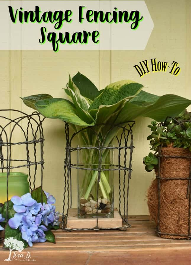 Vintage fencing can be re-purposed into DIY decorative squares with this visual how-to. Unlimited decorative possibilities with vintage, junky flair! #repurposed #vintagefencing #gardenprojects #vintageweddings #vintagegarden #countrylivingmagazine #countrysamplermagazine #countrylivinggardens #vintagestlyemagazine