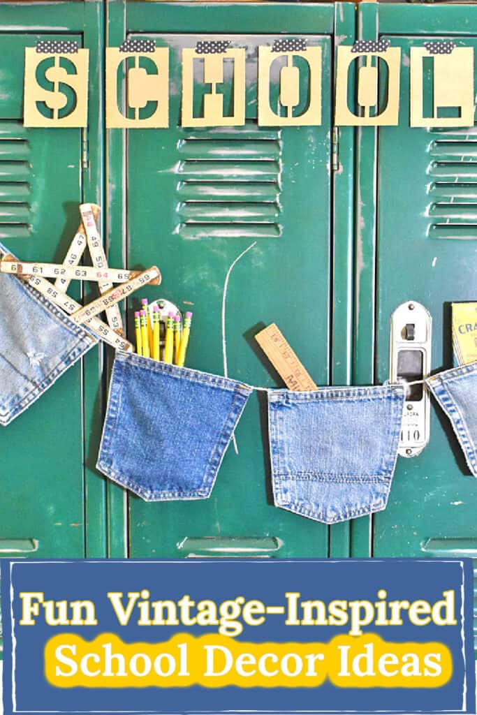 DIY blue jean pocket garland for fun vintage school decor ideas.
