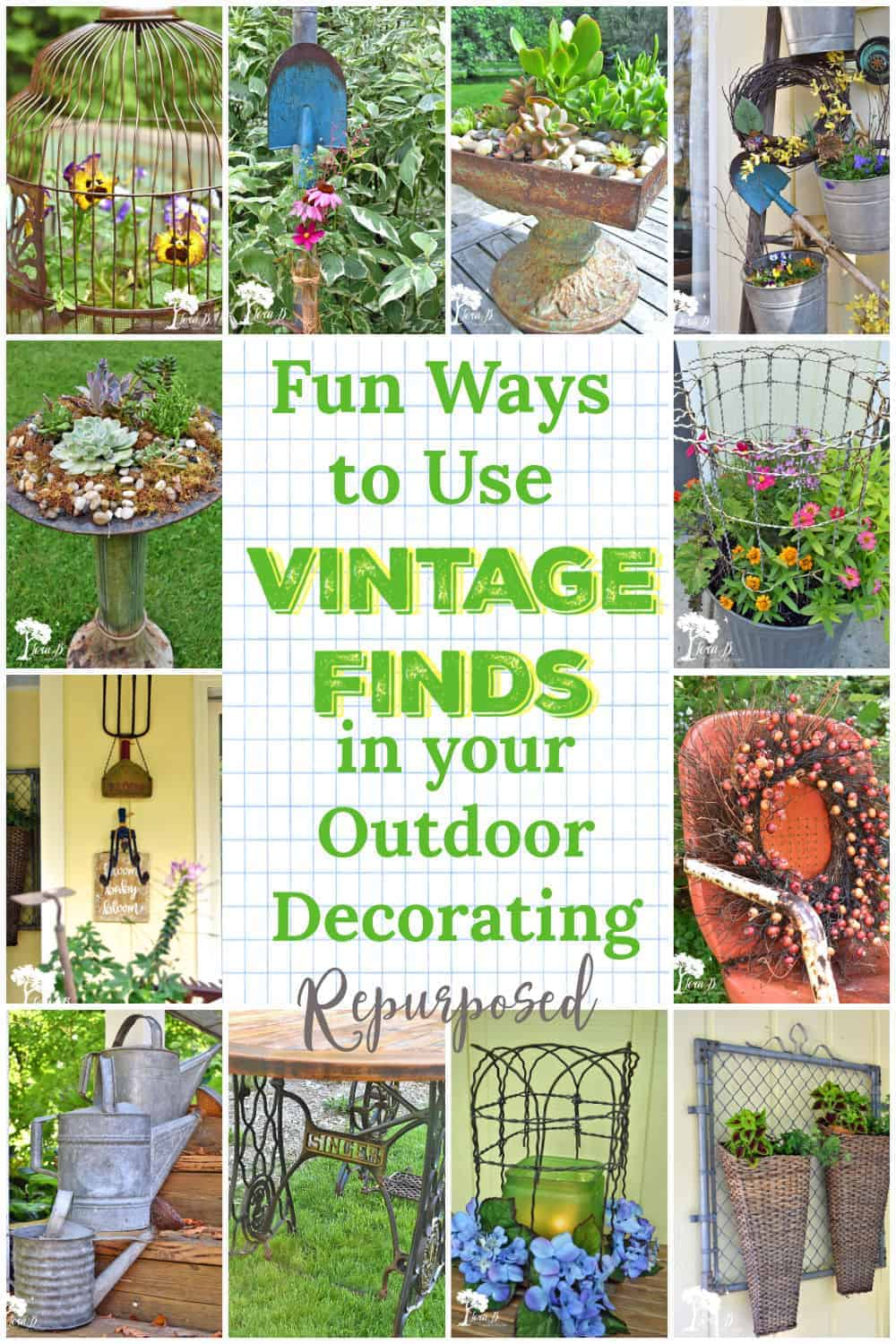 Fun Ways to Use Vintage Finds in your Outdoor Decorating
