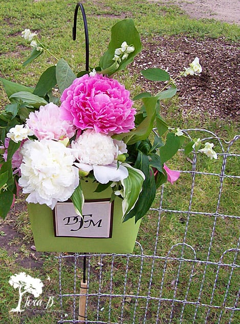 Peony wedding arrangement