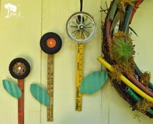 Repurposed wheel flowers