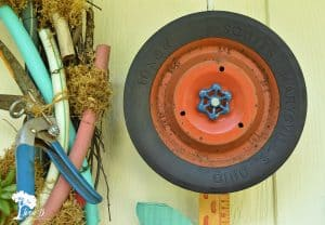 re-purposed wheel flower