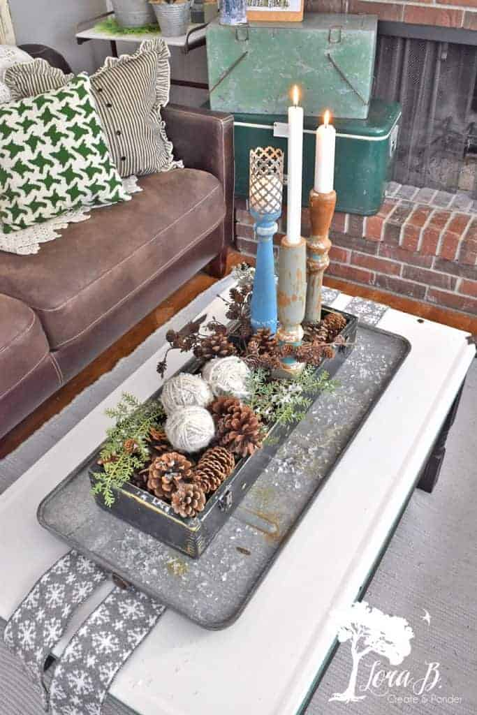 winter vintage centerpiece