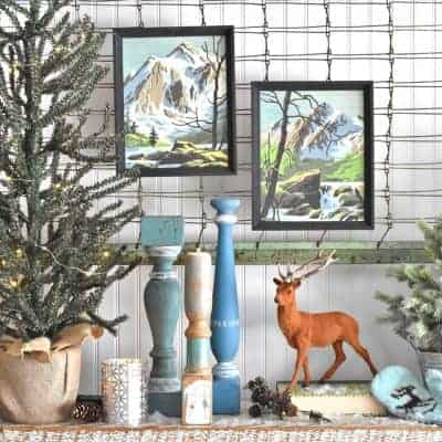 Frosty Winter Mantel Decor with Blues and Greens