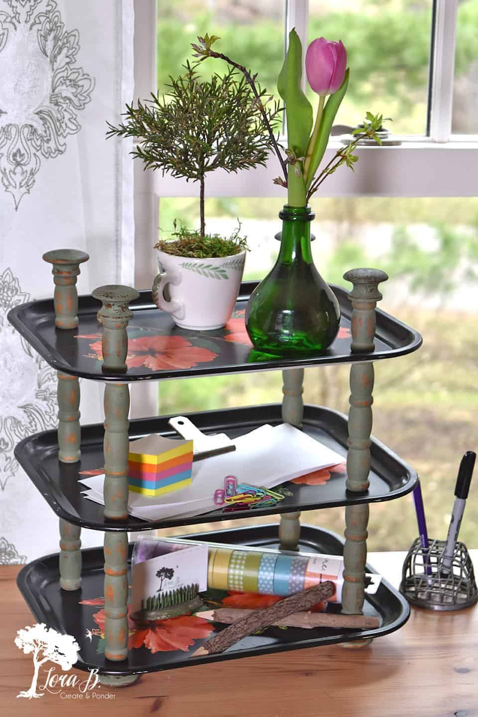 upcycled tiered tray